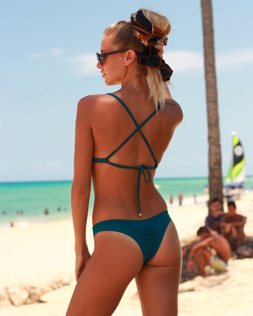 Ipanema Runch btms - Peacock - cheeky cut brazilian surf bikinis Cenote Swimwear that stays on in the surf
