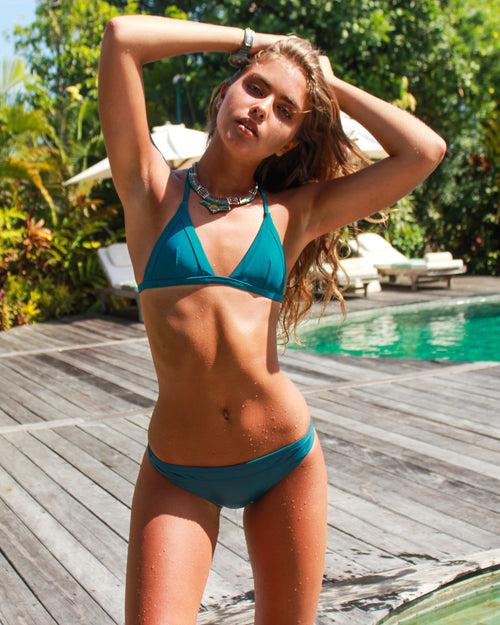 Nexpa Bottoms - Peacock - cheeky cut brazilian surf bikinis Cenote Swimwear that stays on in the surf
