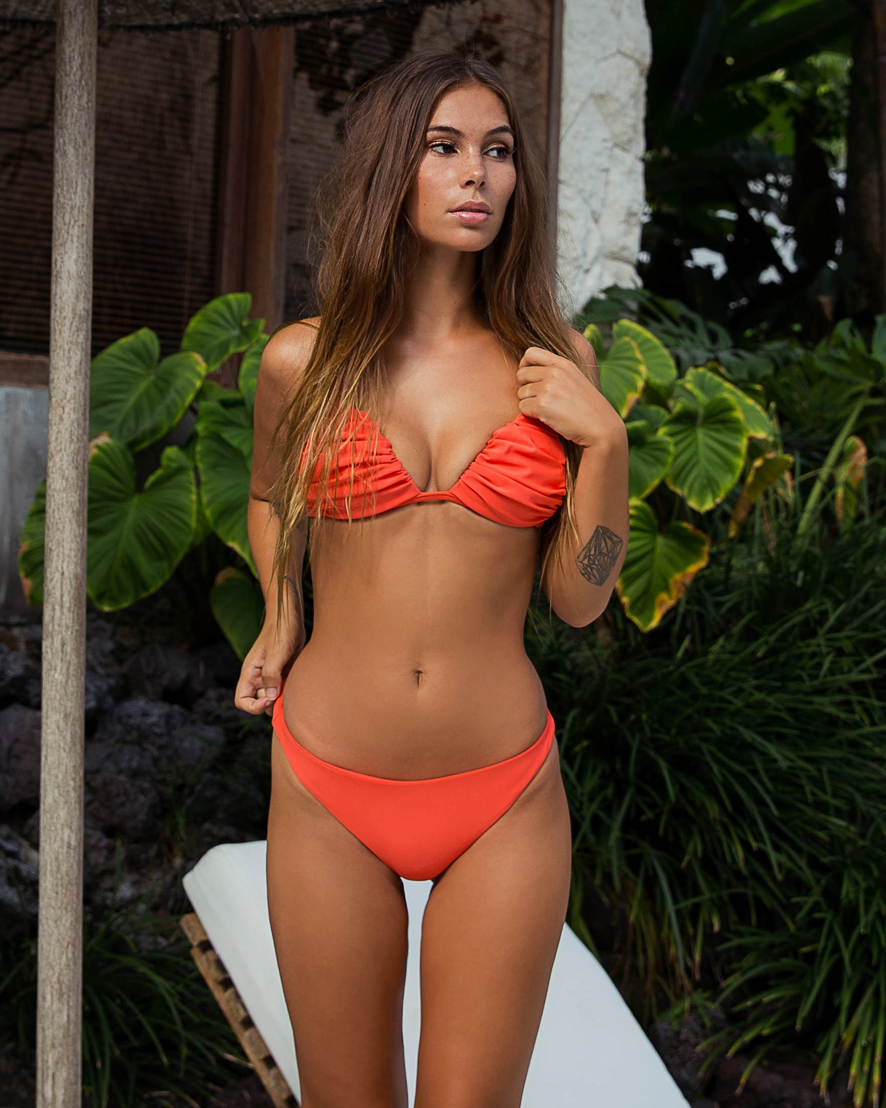 Rio Claro Top - Italian Coral - cheeky cut brazilian surf bikinis Cenote Swimwear that stays on in the surf