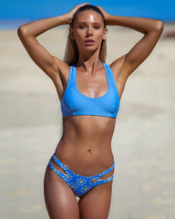 Santana Top - Corn Flower - cheeky cut brazilian surf bikinis Cenote Swimwear that stays on in the surf