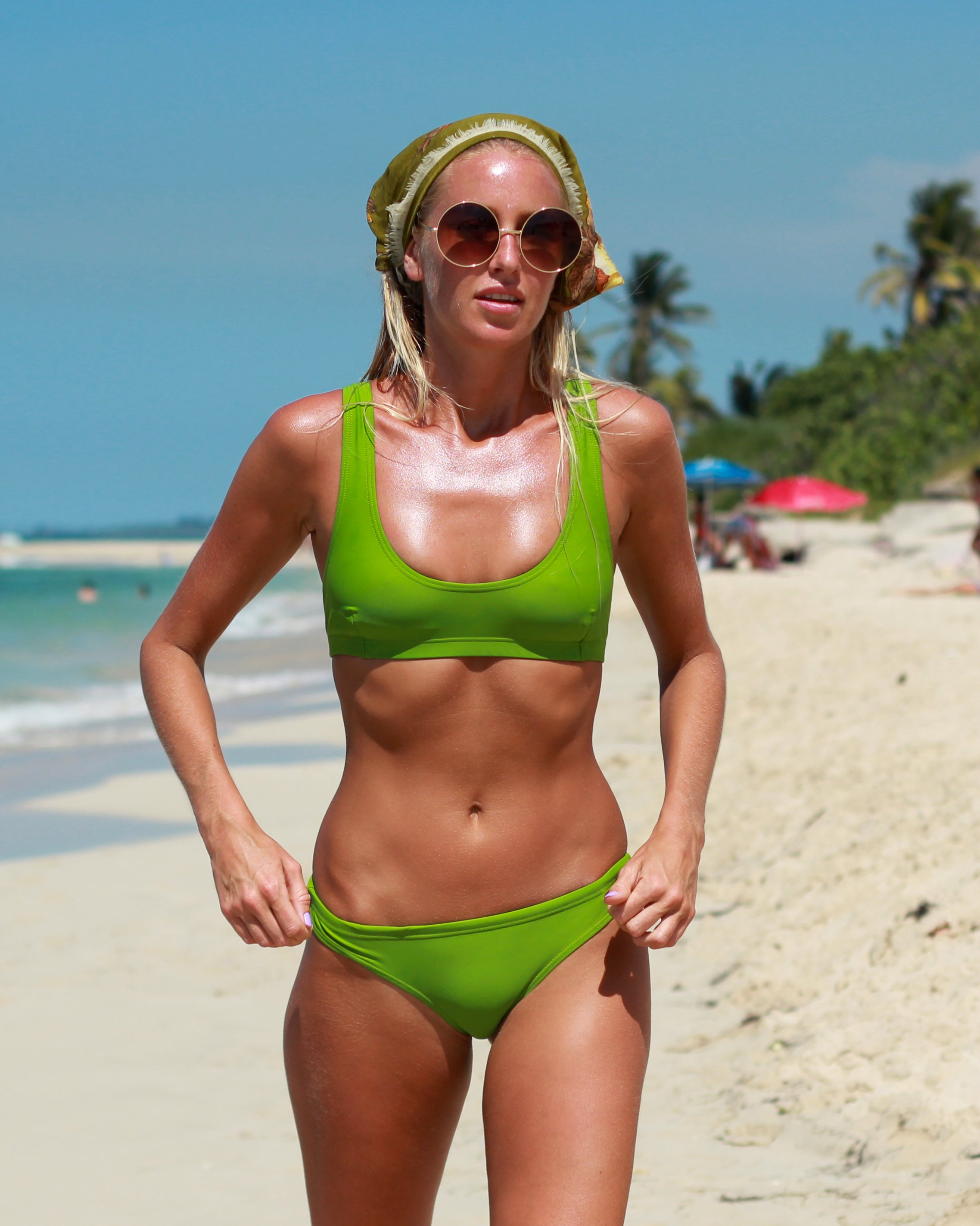 Ipanema Runch btms - Moss - cheeky cut brazilian surf bikinis Cenote Swimwear that stays on in the surf
