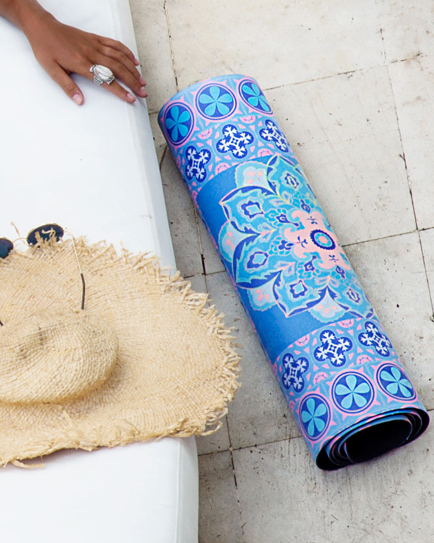 Suede Yoga Mat - Blue Moroccan - cheeky cut brazilian surf bikinis Cenote Swimwear that stays on in the surf