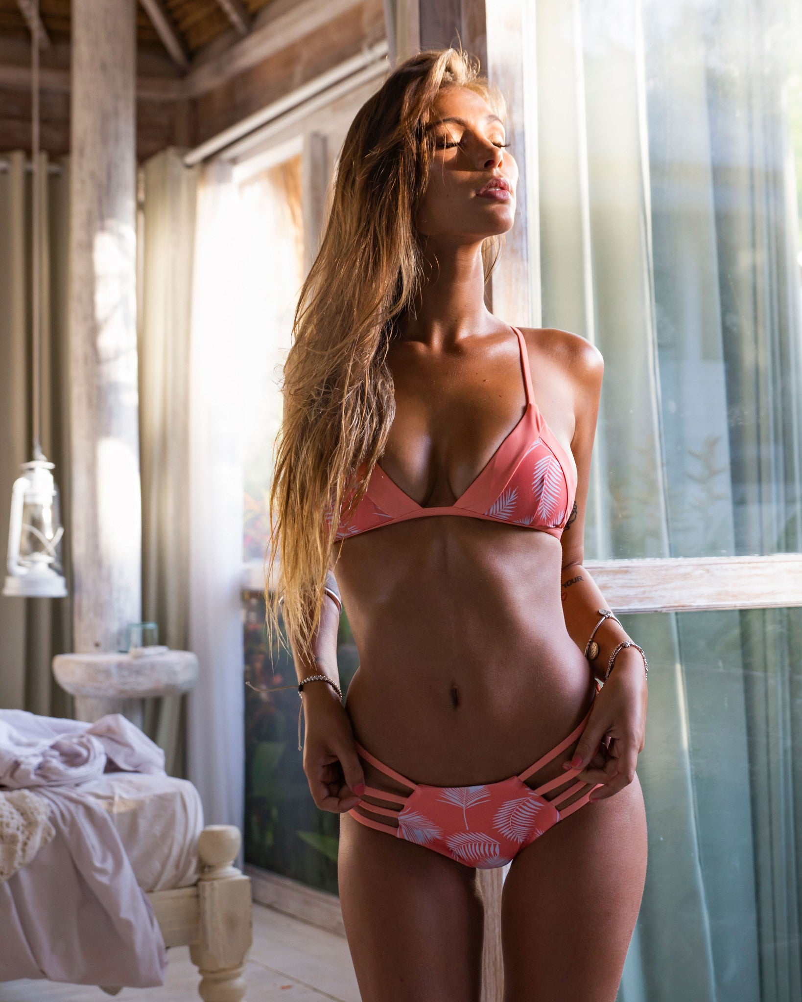 Mancora reversible btms - Peach Palms / Grapefruit - cheeky cut brazilian surf bikinis Cenote Swimwear that stays on in the surf