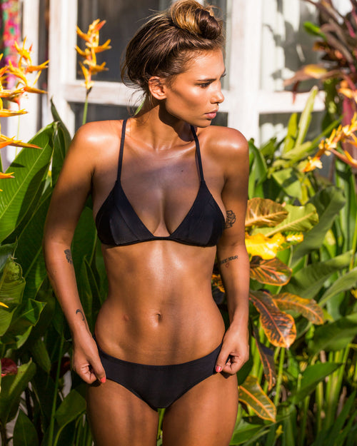Ipanema Runch btms - Black - cheeky cut brazilian surf bikinis Cenote Swimwear that stays on in the surf
