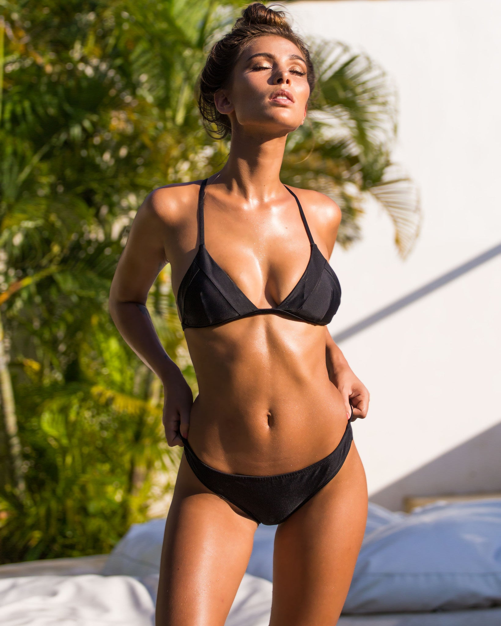 Nexpa Top - Black - cheeky cut brazilian surf bikinis Cenote Swimwear that stays on in the surf