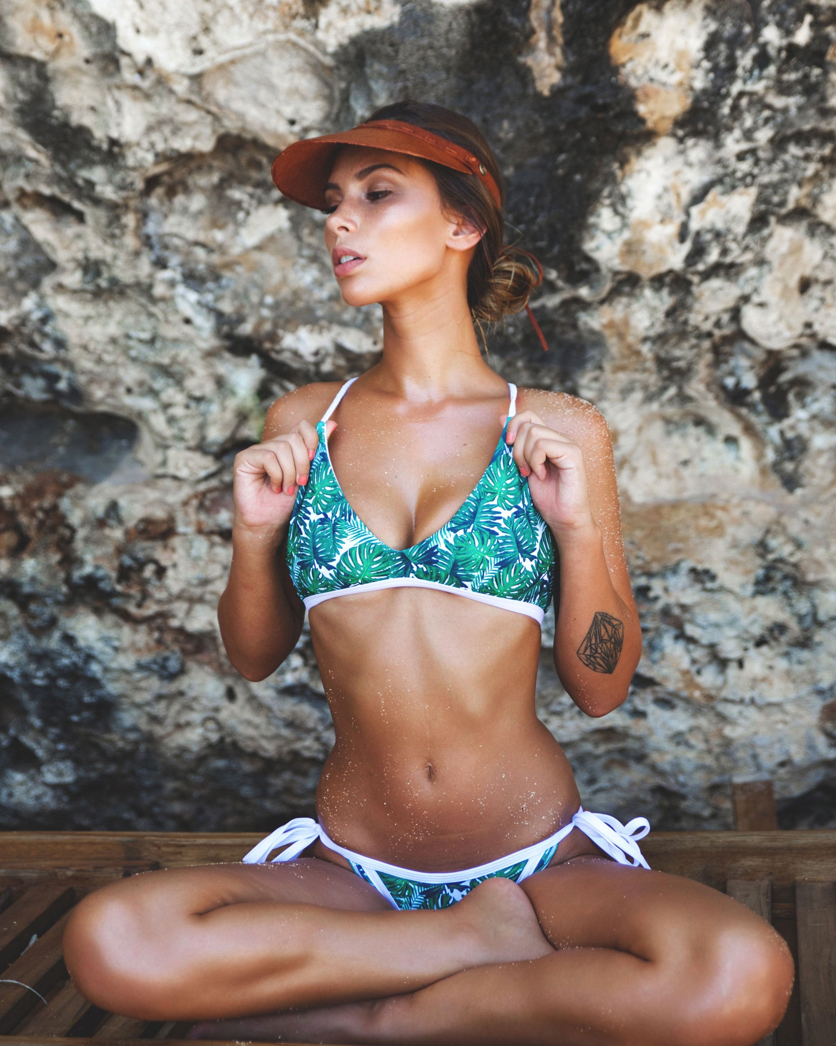 Escondido btms - Jungle - cheeky cut brazilian surf bikinis Cenote Swimwear that stays on in the surf