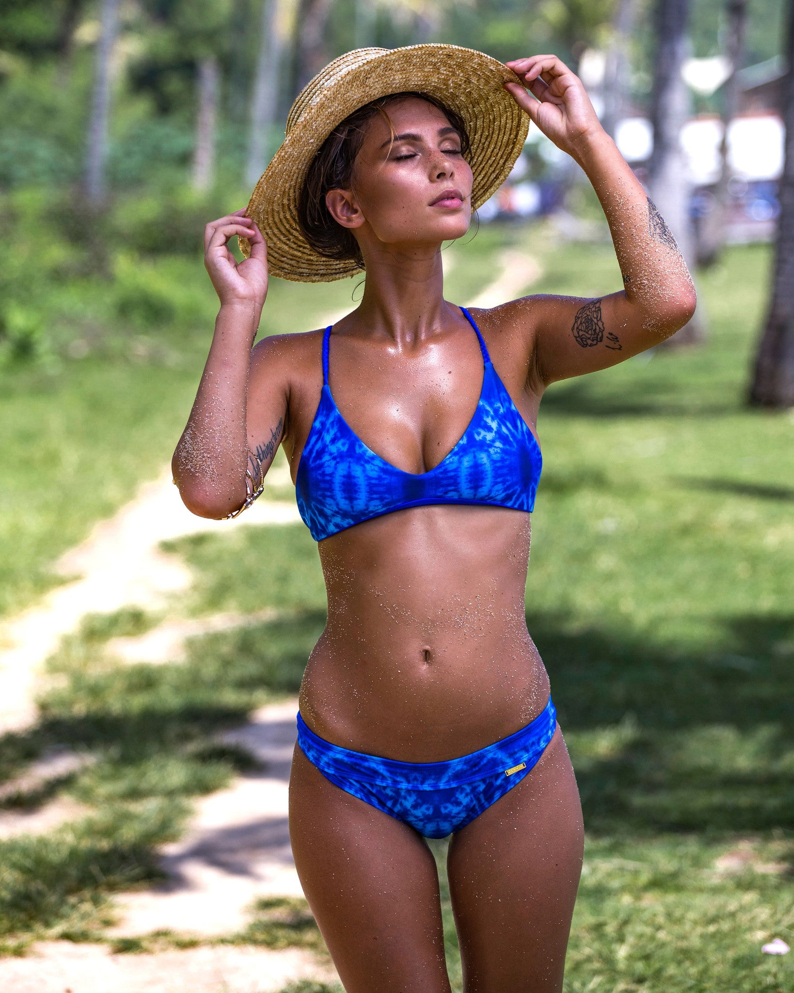 Barra De La Cruz Top - Blue Marble - cheeky cut brazilian surf bikinis Cenote Swimwear that stays on in the surf cheeky bikinis