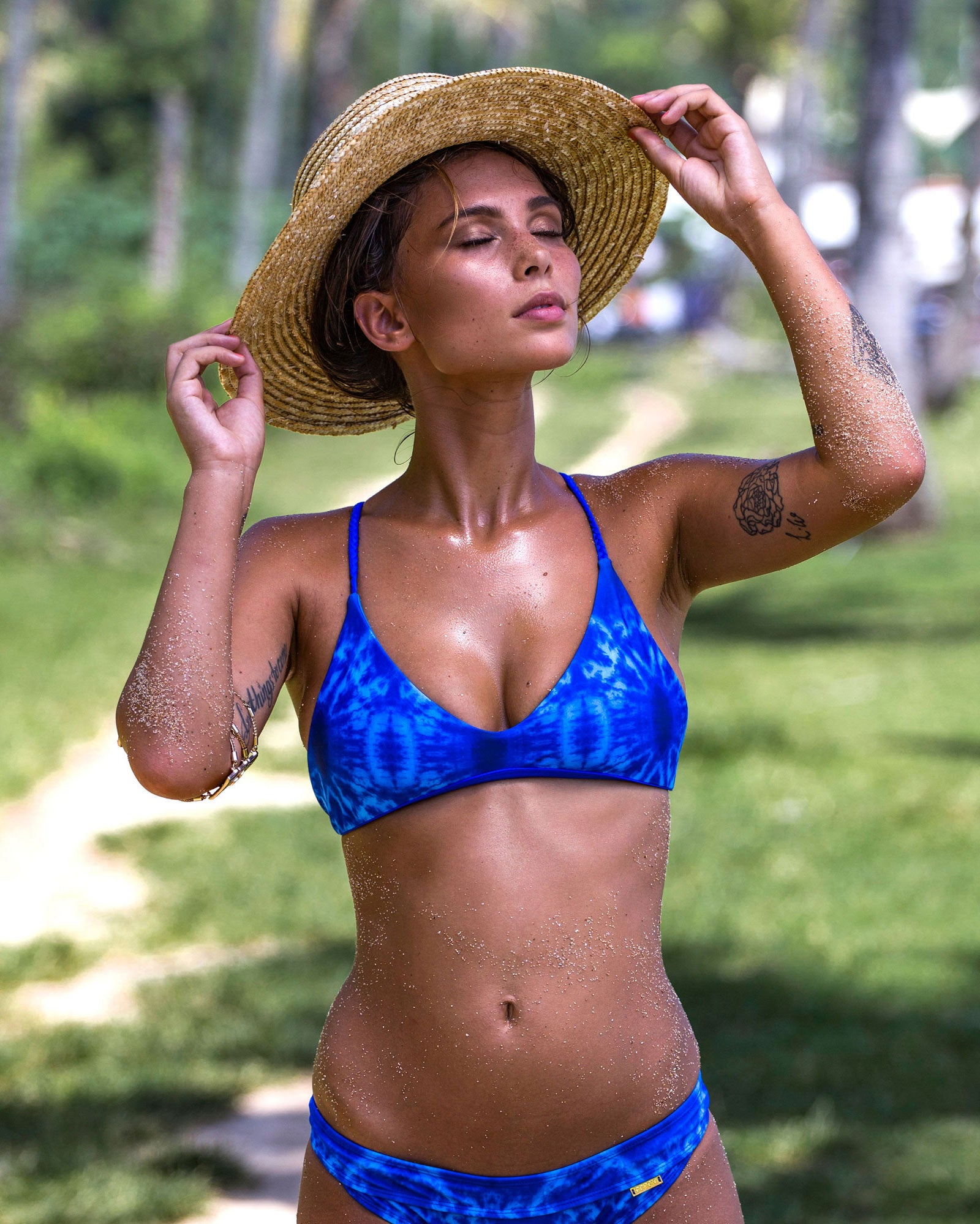 Barra De La Cruz Top - Blue Marble - cheeky cut brazilian surf bikinis Cenote Swimwear that stays on in the surf