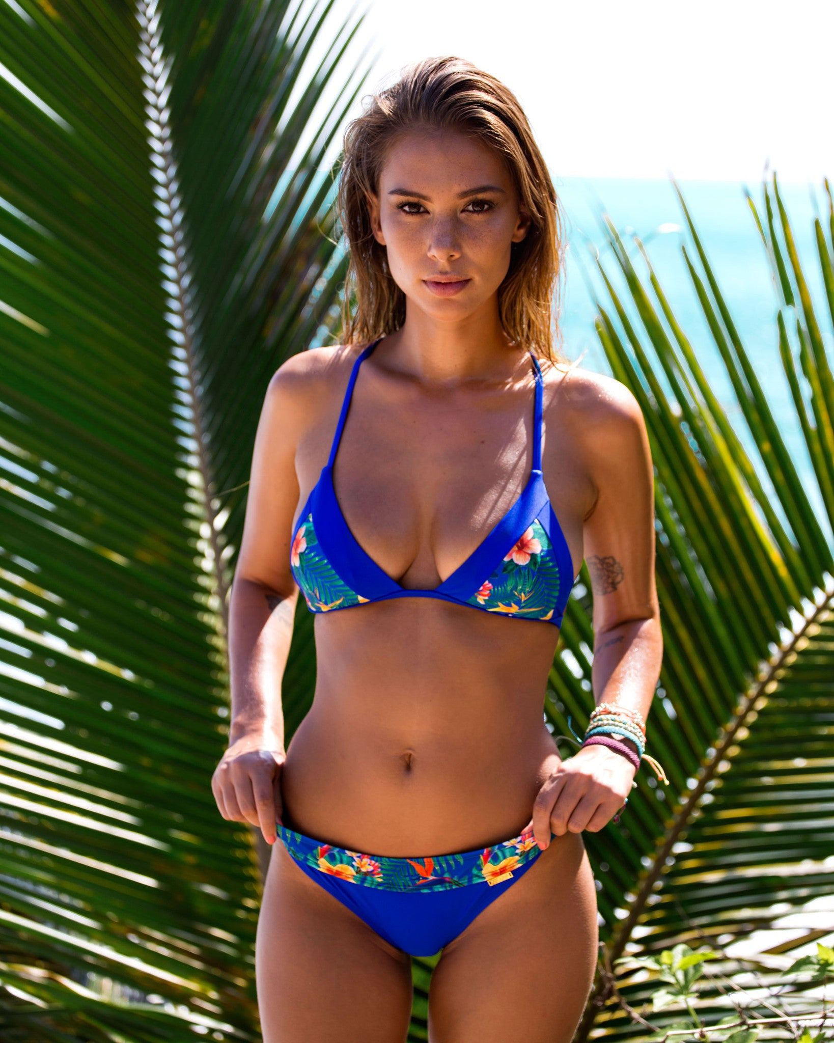 Nexpa Top - Birds of Paradise - cheeky cut brazilian surf bikinis Cenote Swimwear that stays on in the surf