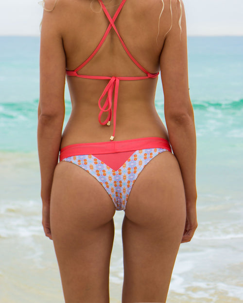 Nexpa Btms - Coral / Water Colour - cheeky cut brazilian surf bikinis Cenote Swimwear that stays on in the surf