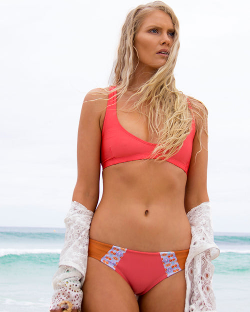 Sunzal Btms - Water Colour/ Coral - cheeky cut brazilian surf bikinis Cenote Swimwear that stays on in the surf