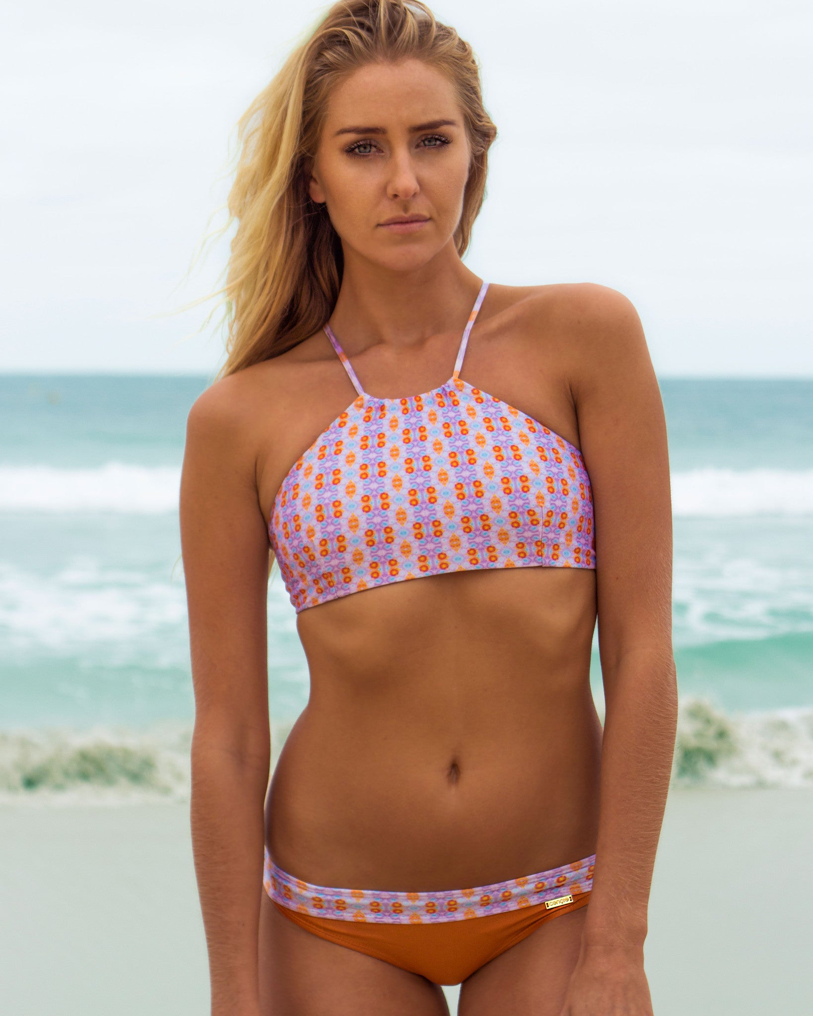 Nexpa btms - Water Colour / Sunburnt Orange - cheeky cut brazilian surf bikinis Cenote Swimwear that stays on in the surf
