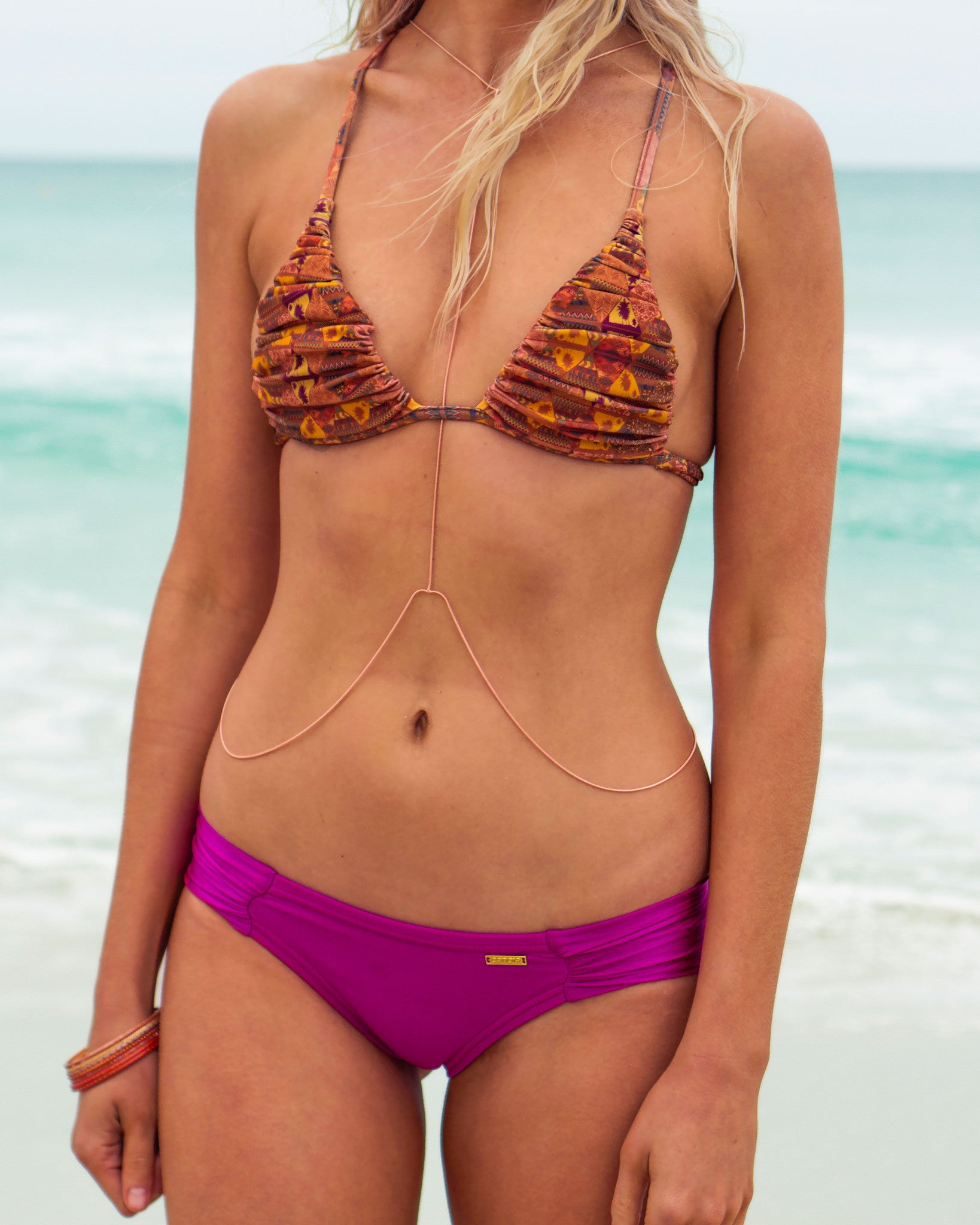 Rio Claro btms - Magenta - cheeky cut brazilian surf bikinis Cenote Swimwear that stays on in the surf