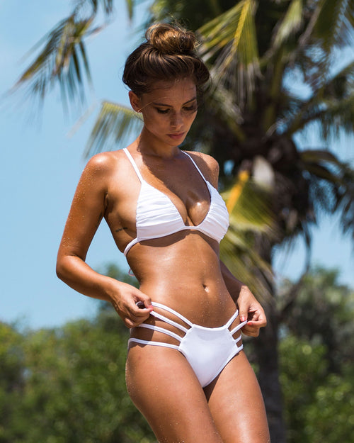 Mancora reversible btms - Tropical /white - cheeky cut brazilian surf bikinis Cenote Swimwear that stays on in the surf