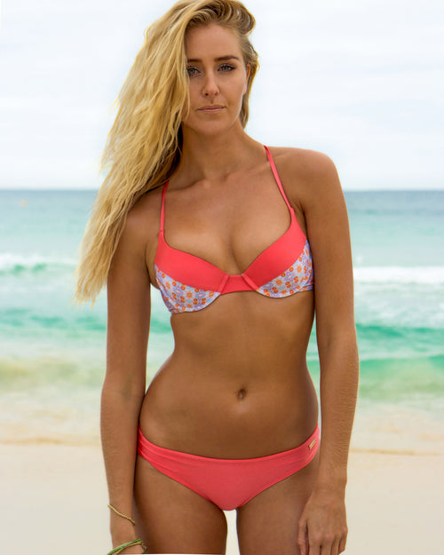 La Ticla top - Coral / Water Colour - cheeky cut brazilian surf bikinis Cenote Swimwear that stays on in the surf