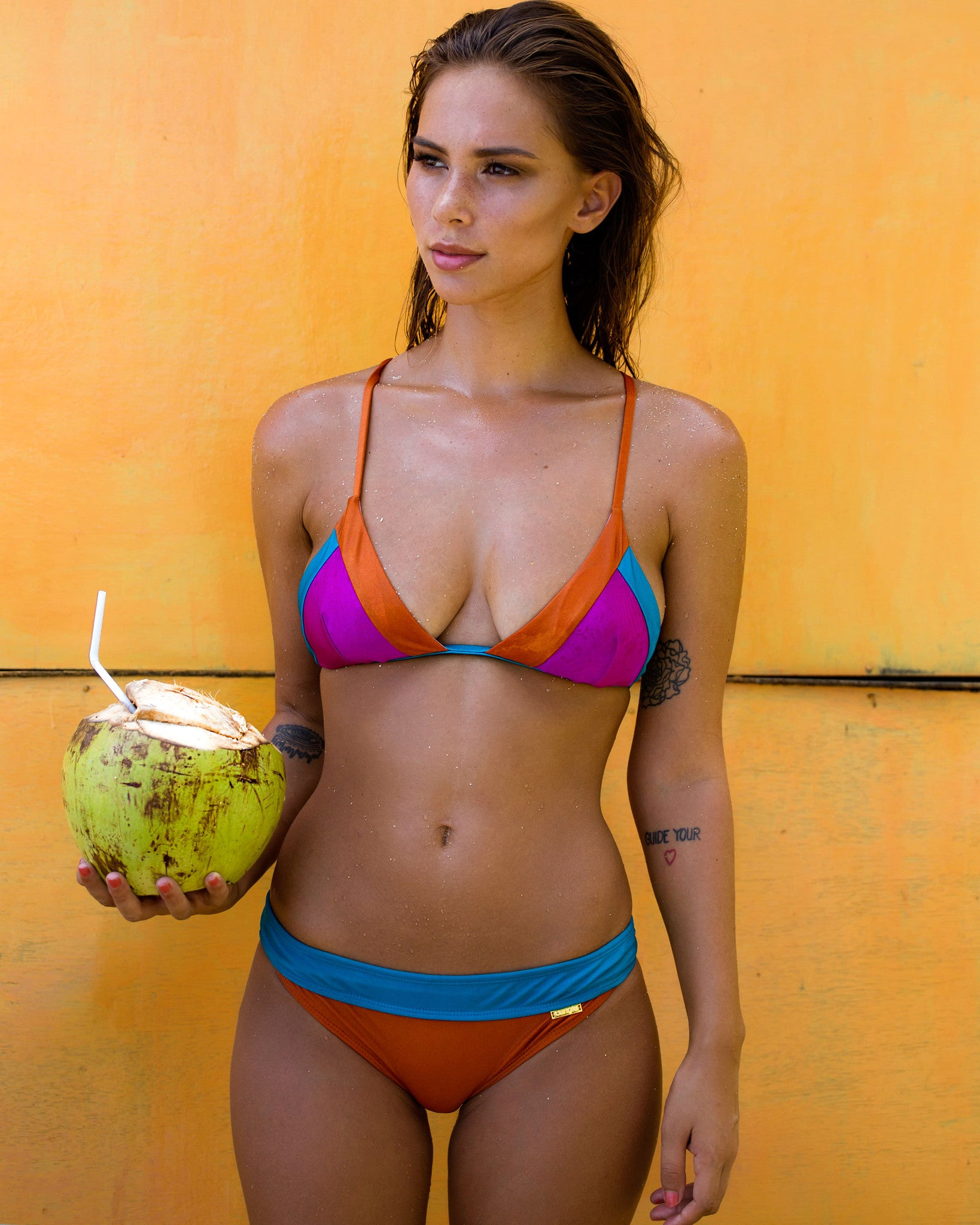 Nexpa Bottoms - Retro colours - cheeky cut brazilian surf bikinis Cenote Swimwear that stays on in the surf