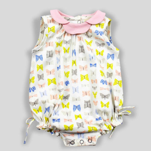 GOTS Organic Butterly Print Onesie with Pink Petal Collar