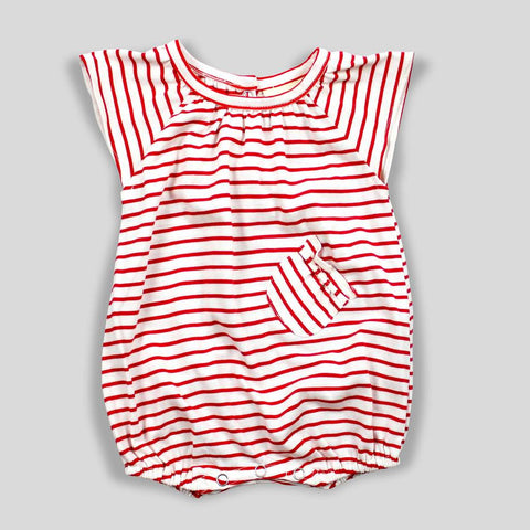 Organic Red and White Striped Romper with Ruffle Sleeves