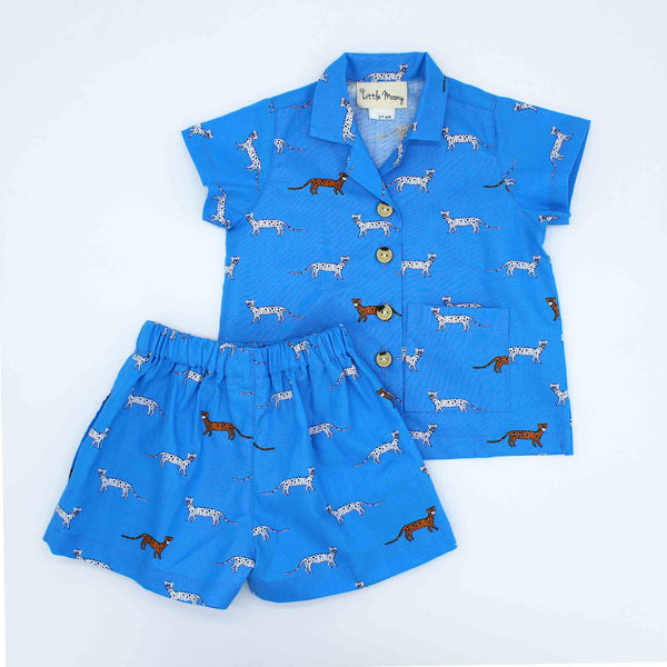 Blue Cheetah Little Man Short Set