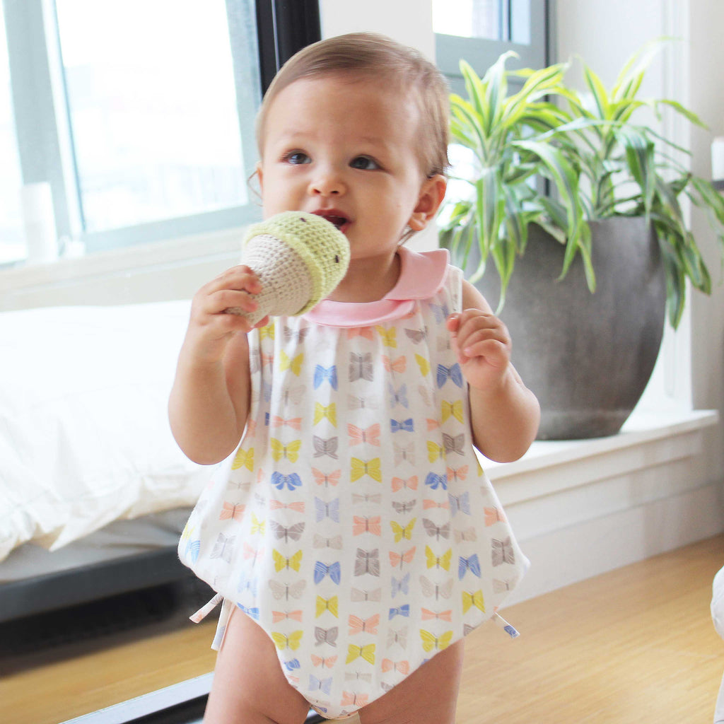 NEW: GOTS Organic Butterfly Print Onesie with Pink Petal Collar
