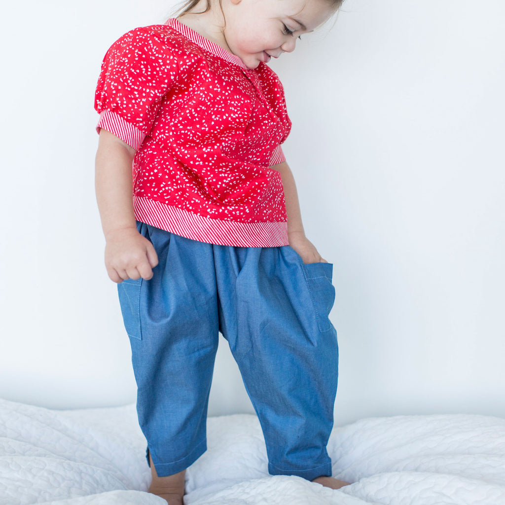 Harem Pants in Blue Cotton
