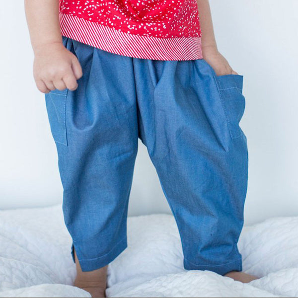 Boys Harem Pants in Blue Cotton