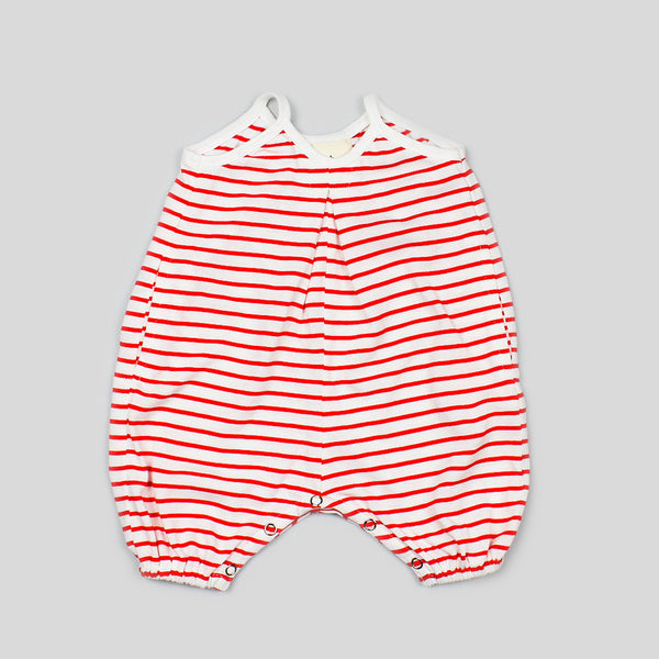 Organic Poppy Red Stripe Romper