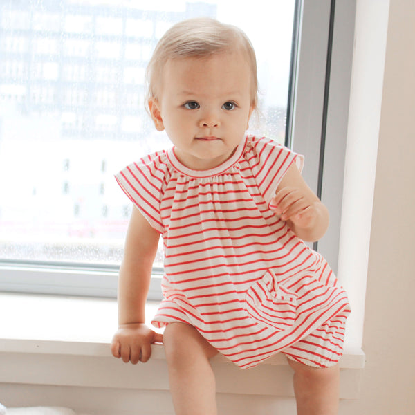 NEW: Organic Red and White Striped Romper with Ruffle Sleeves