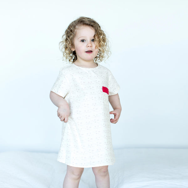 Girl's Cotton Trapeze Dress in Cat Print