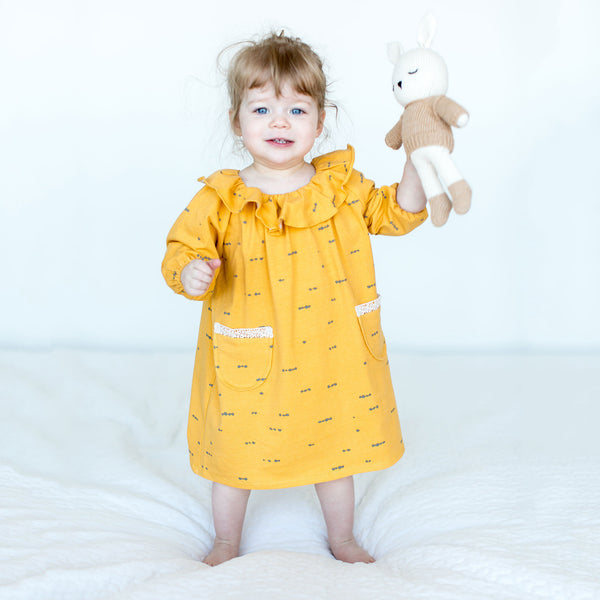 Yellow Ruffle Collared Dress with Sleeves