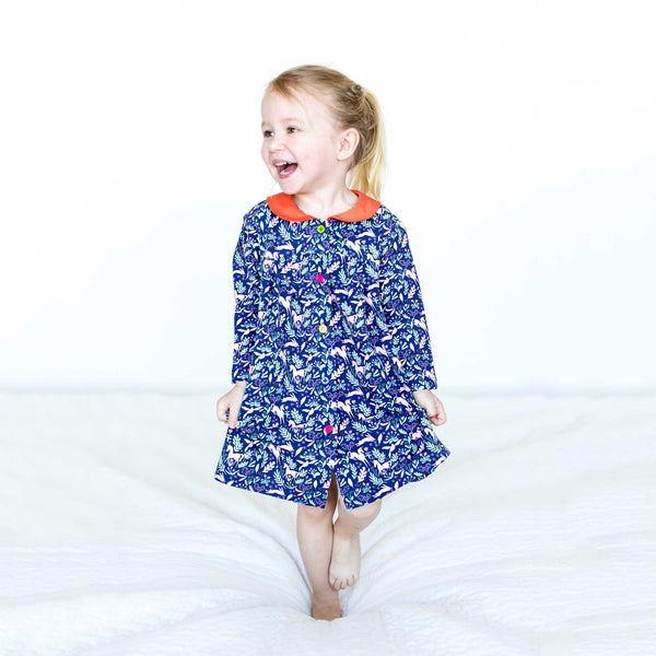NEW: Magical Unicorns, Bunnies Dress with Peter Pan Collar