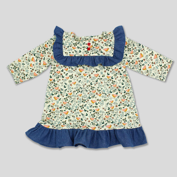 Back in Stock: Bird Knit Dress with with Denim Ruffles