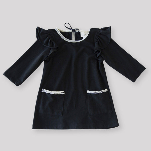 Girls' Organic Black Ruffle Sleeved Dress