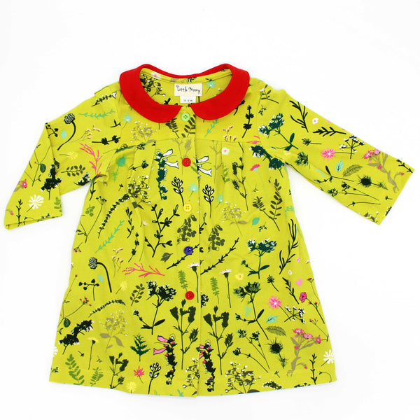 Citron Floral Collar Dress