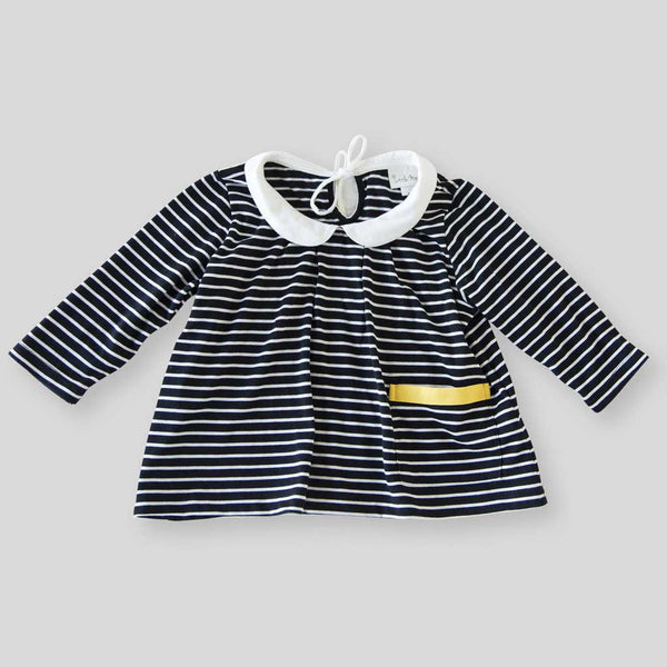 Girl's Organic Striped Top with Peter Pan Collar and Sleeves