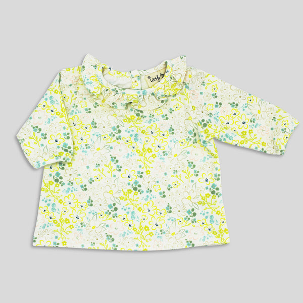 NEW: Knit Ruffle Collar Top in Nordic Floral Print