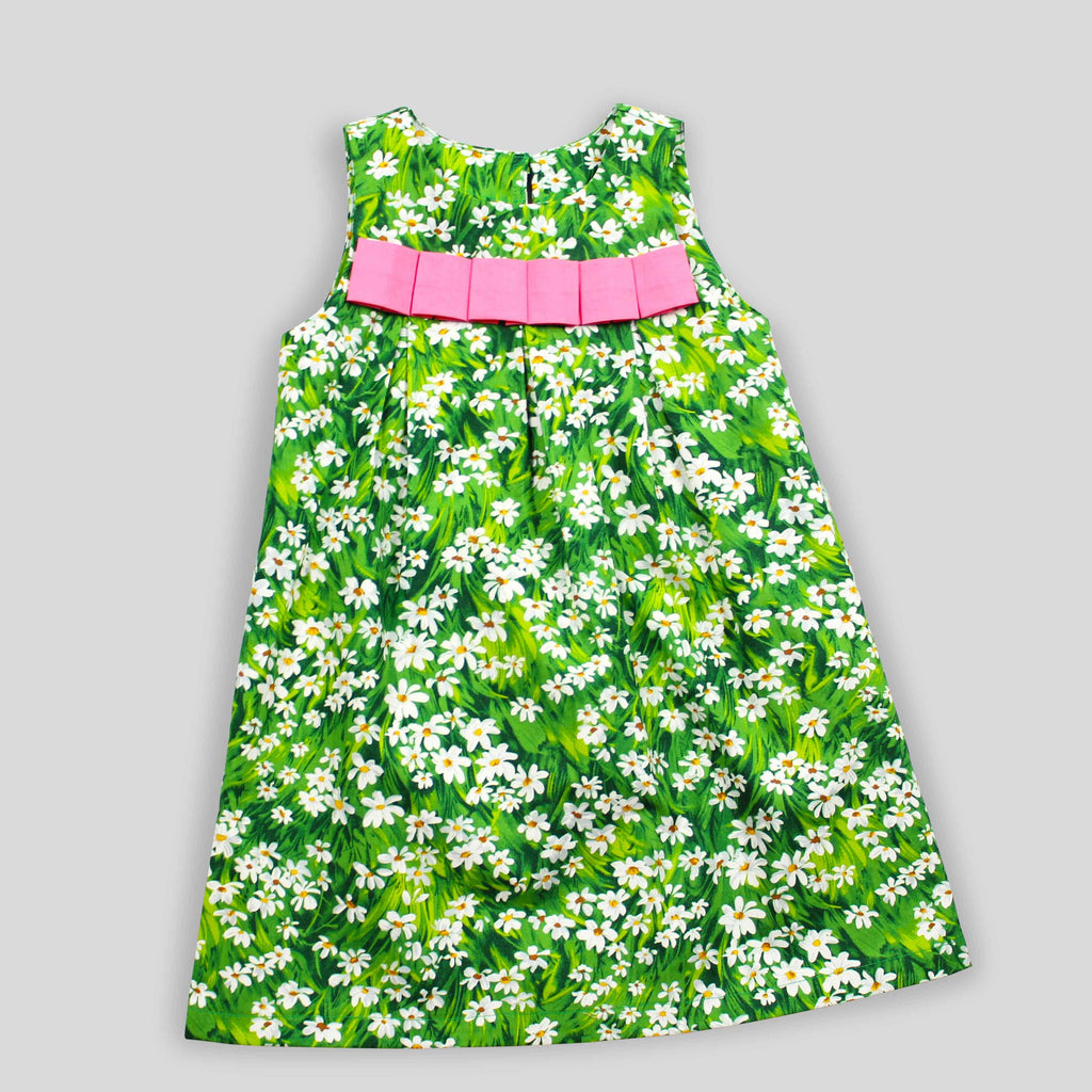Limited Edition: Green Daisy Dress with Pink Ribbon