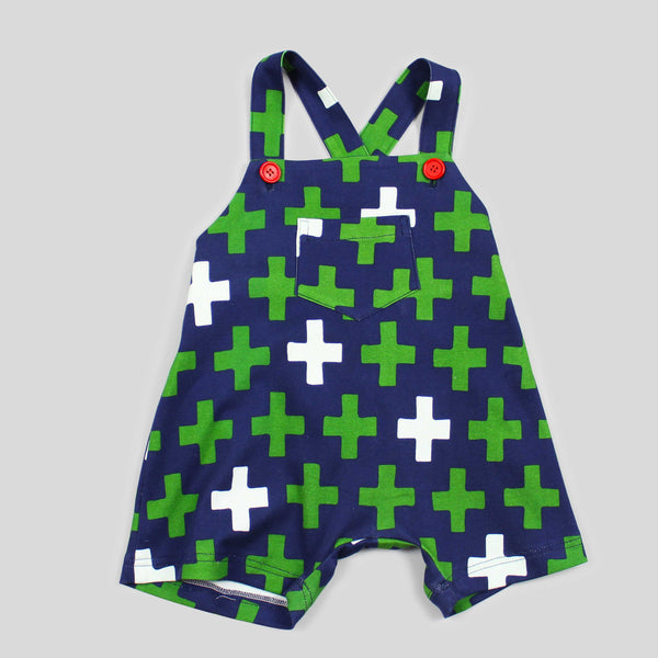 NEW: GOTS Certified Organic Soft Overall with Green and Navy Cross Print