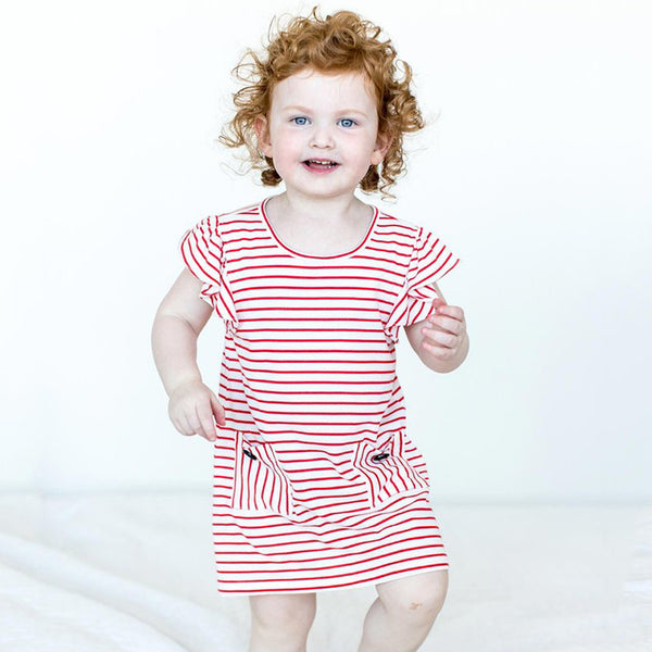 Girls' Organic Ruffle Sleeved Dress in Poppy Red Stripes