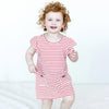 Organic Ruffle Sleeved Dress in Poppy Red Stripes