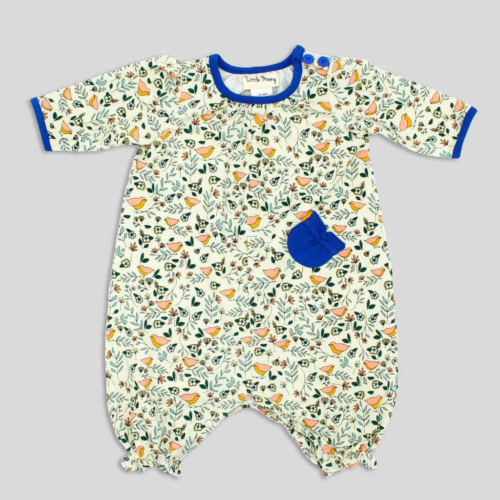 Baby Girl's Soft Knit Jumpsuit with Bird Print