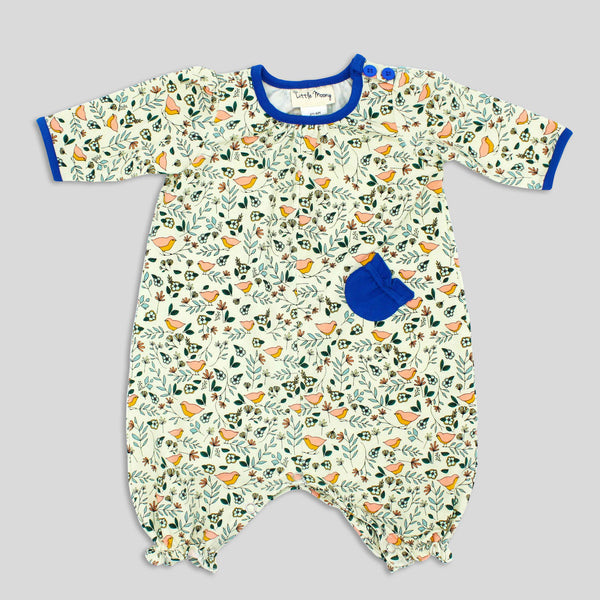 NEW: Baby Girl's Soft Knit Jumpsuit with Bird Print