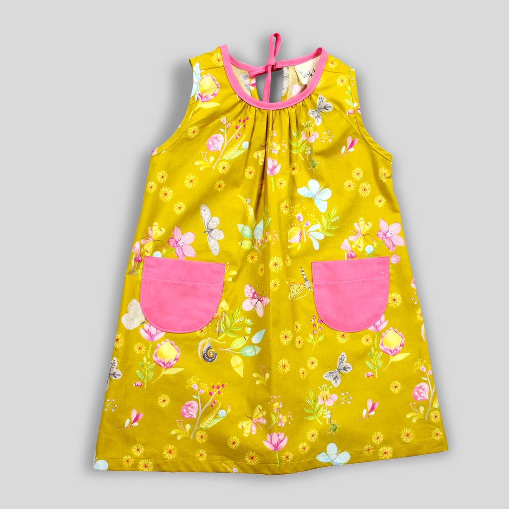 Yellow Sleeveless Floral Dress with Pink Pockets