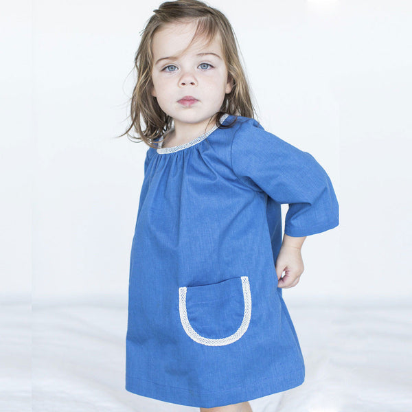 Girls' Gathered Neck Dress in Blue Cotton