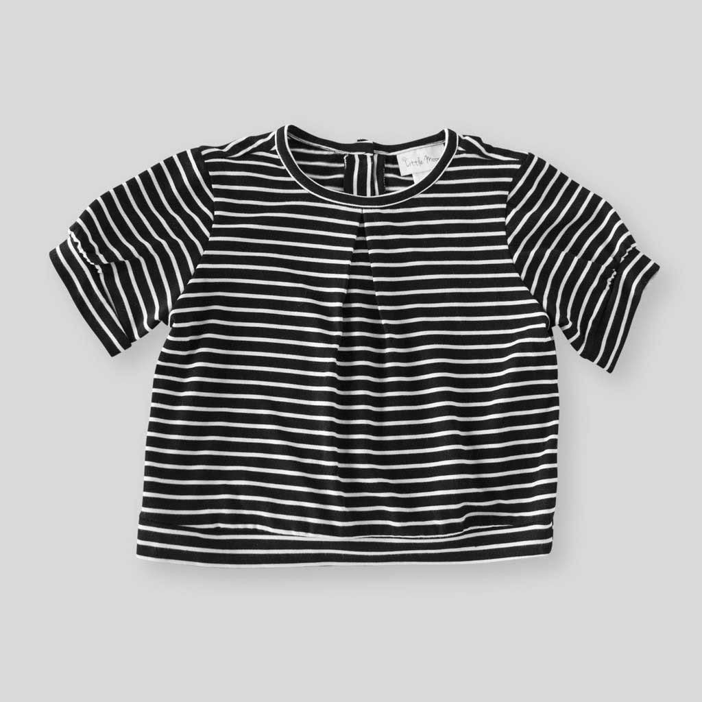 Girls' Organic Striped Top with Cap Sleeves