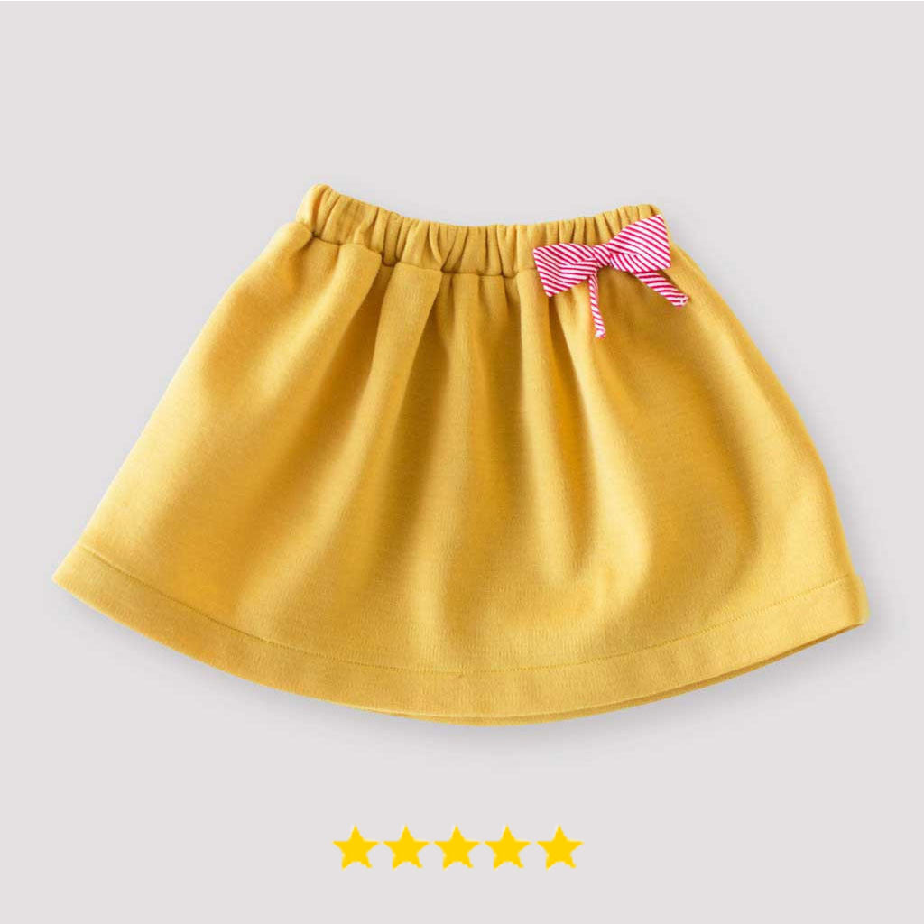 Girls' Pull-on Skirt in Yellow Double Knit Wool