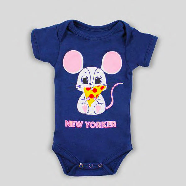 NEW: Navy Blue New Yorker Mouse Eating Pizza Bodysuit