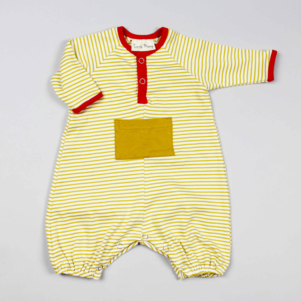 GOTS Organic Mustard Yellow Striped Jumper with Kangaroo Pocket