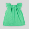 Girls' Ruffle Sleeved Top in Green Swiss Dot