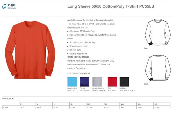 PC55LS - LONG SLEEVE 50/50 BLEND T-SHIRT